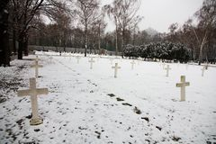 Military cemetery. Czech military cemetery in prague, military cemetery in winter Stock Images
