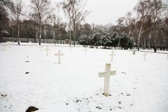 Military cemetery. Czech military cemetery in prague, military cemetery in winter Stock Image