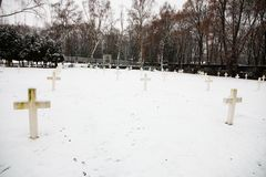 Military cemetery. Czech military cemetery in prague, military cemetery in winter Stock Photography