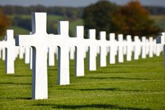 Military Cemetery Henri-Chapelle, Belgium. The American military cemetery Henri-Chapelle near Aubel in Belgium with white crosses in rows Stock Photo