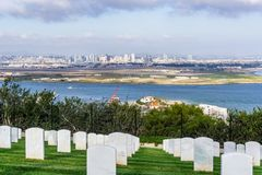 Military cemetery; San Diego`s skyline in the background, California royalty free stock images