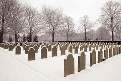 Military cemetery in the snow Royalty Free Stock Photo