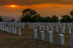 Military Cemetery. Sunset at Military Cemetery in Clark Stock Photo