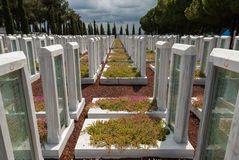 Military cemetery in Turkey. A military cemetery at the site of Canakkale Turkish Martyrs Memorial on April 18, 2014 at the Gallipoli Peninsula, Turkey. The Stock Photography