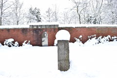Military Cemetery, War Cemetery, War Cemetery Gate, war cemetery Gate Winter, War Cemetery Gate Winter Forest, War Grave Winter, Stock Image