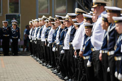 The military ceremony at the Sea Cadet Corps, Russia royalty free stock image