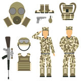 Military character weapon guns symbols armor man set forces design and american fighter ammunition navy camouflage sign. Vector illustration. Uniform battle Royalty Free Stock Images