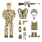 Military character weapon guns symbols armor man set forces design and american fighter ammunition navy camouflage sign. Vector illustration. Uniform battle Stock Photography