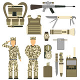 Military character weapon guns symbols armor man set forces design and american fighter ammunition navy camouflage sign. Vector illustration. Uniform battle Royalty Free Stock Photography