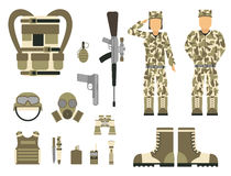 Military character weapon guns symbols armor man set forces design and american fighter ammunition navy camouflage sign. Vector illustration. Uniform battle Stock Photo