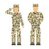 Military character weapon symbols armor man silhouette forces design and american woman fighter ammunition navy Royalty Free Stock Images