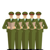 Military Choir. Officers sing songs. war band. Army musicians Royalty Free Stock Images