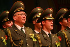 The military choir of the Russian army. Performance under the baton of choral singers and soloists  of the military song and dance ensemble of the North-Western Royalty Free Stock Image