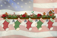 Military Christmas Stockings. Military holiday stockings with dog tags on mantelpiece Stock Images