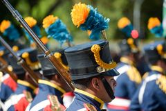 military civic parade celebrating the independence of Brazil Royalty Free Stock Images
