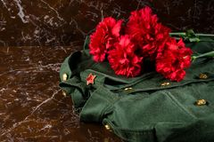 Military clothes and carnations, against the background of the monument Vector Illustration