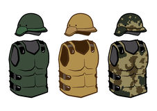Military clothing protection vests camouflage body Royalty Free Stock Photos