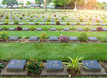 Military coalition tomb tag in Kanchanaburi War Cemetery in Thailand. Stock Photography