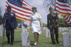 Military Color guart at Veteran's Cemetery Stock Photos