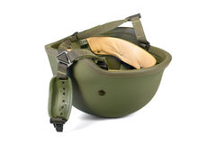 Military combat helmet with chin strap isolated. A piece of military personal body armour. Clipping path available Royalty Free Stock Image