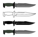 Military combat knife set. Color, contour, silhouette. Vector clip art illustrations isolated on white royalty free illustration