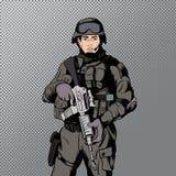 Military comics man Royalty Free Stock Photos