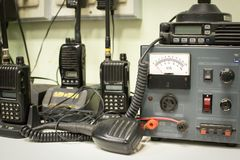 Military communications receiver. Or radio communication control with Radio transceivers Stock Photos