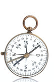 Military Compass. An authentic World War II transparent military compass on plain white background with natural reflection. Some imperfections due to wear are Royalty Free Stock Images