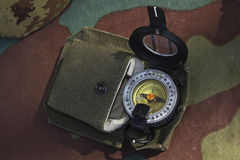 Military compass. Army military compass in use Stock Photos