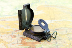 Military compass on the map Stock Photo