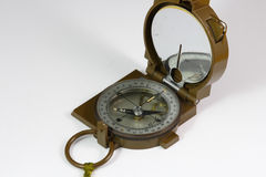 Military compass on white background Royalty Free Stock Photos