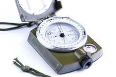 Military compass on a white background. Royalty Free Stock Images