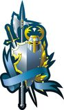 Military composition. Armorial composition with helmet sword, axe, ribbon and branch Stock Photo
