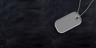 Military concept, Blank identification tag on black background. 3d illustration. Military concept, Blank identification dog tag on black background. 3d Royalty Free Stock Photo