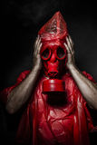 Military concept, man with red gas mask. Stock Images