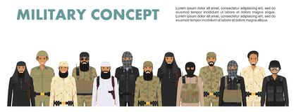 Military concept. Set of different detailed illustration of arab muslim soldiers in camouflage uniforms standing in Royalty Free Stock Images
