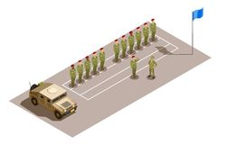 Military Division Service Isometric Composition. Military contingent row with division commander saluting to superior officer isometric composition with army Stock Images