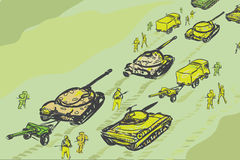 Military Convoy. Of tanks, infantry and howitzer, hand drawn illustration Royalty Free Stock Image