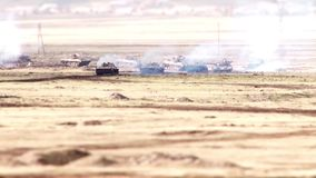 A military convoy traveling through the desert.  stock footage