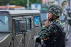 Military coup thailand. Bangkok ,Thailand - May 31 ,2014. Soldiers at victory Monument Were stationed around the area to keep the peace Stock Photo