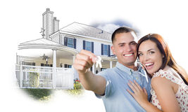 Military Couple with Keys Over House Drawing and Photo Stock Photos