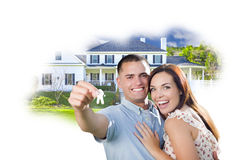 Military Couple with Keys Over House Photo in Cloud Royalty Free Stock Image