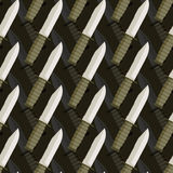 Military dagger seamless pattern. 3d background of knives.  Stock Images