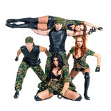 Military dancer team dressed in camouflage Royalty Free Stock Image