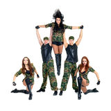 Military dancer team dressed in camouflage Royalty Free Stock Photo