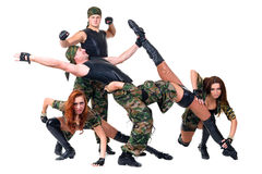 Military dancer team dressed in camouflage Royalty Free Stock Photography