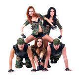 Military dancer team dressed in camouflage Stock Photography