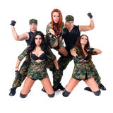Military dancer team dressed in camouflage Stock Images
