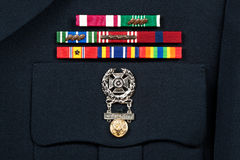 Military Decorations on Dress Uniform Stock Photo