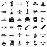 Military depot icons set, simple style. Military depot icons set. Simple set of 36 military depot vector icons for web isolated on white background Stock Photo